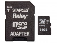MicroSDHC Staples 64GB with SD adapter